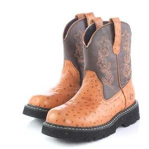 Roper Brown Leather Ostrich Print Cowboy Boots